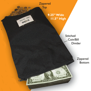 "Greg's Super Bag, the better money bag has a photo with details described. 9.25""Wide by 11.5""High Stitched coin/bill divider Zippered bill pocket on the bottom"