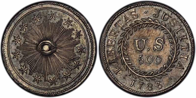 Front and rear views of a 500Quint coin